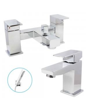 Square Chrome Modern Bath Shower Tap & Basin Sink Mixer Set
