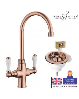 Moss & Britten Kitchen Sink Tap Antique Copper & Overflow Waste