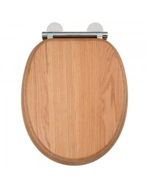 Traditional Croydex Flexi-Fix Toilet Seat Soft Close Solid Oak Wood Quick Release