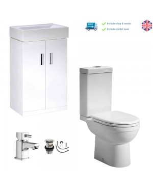 450mm Square Gloss White Vanity Basin Sink Unit Cabinet Close Coupled Pan & Cistern