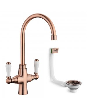 Traditional Kitchen Sink Mixer Tap incl Basket Strainer Waste & Overflow Antique Copper