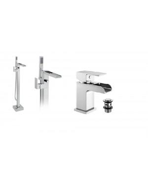 Waterfall Freestanding Bath Mixer Tap & Basin Mono Mixer Tap Incl Basin Clicker Waste