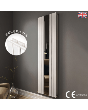 Belgravia 6 Panel Mirrored Radiator White