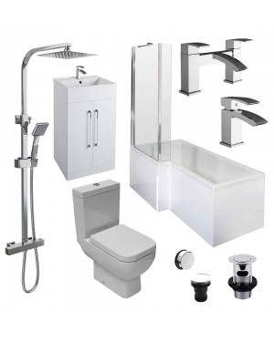 Complete Bathroom Suite 1700mm Left Hand Square Shower Bath Taps