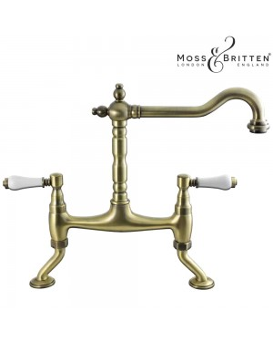 Moss & Britten Traditional Bridge French Classic Kitchen Sink Tap Antique Brass
