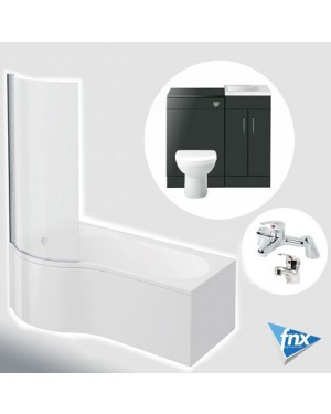 Lomond P Shape Left Hand Bathroom Suite in Anthracite Vanity Unit BTW Pan Tap Set