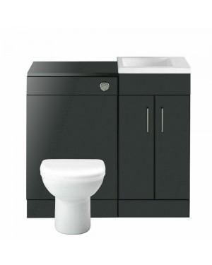 Lomond L Shape Left Hand Bathroom Suite in Anthracite
