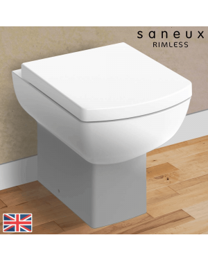 Saneux I-LINE Square Rimless Back To Wall Toilet Pan + Soft Close Seat