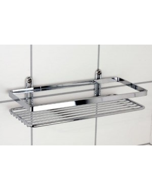 Satina Single Rectangle Chrome Shower Caddy 25x11x4cm Made in Sweden by Satina