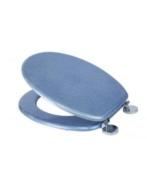 Croydex Blue Toilet Seat Quartz Glitter Wood Sit Tight Bathroom Anti Bacterial