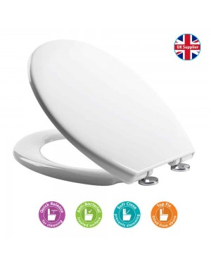 Croydex Eldon White Soft Close Toilet Seat Quick Release Hinges Anti Bacterial