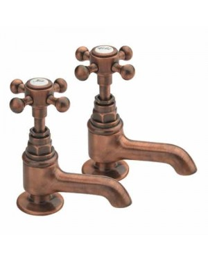 Moss & Britten Traditional Basin Sink Taps Old Copper Made in Italy