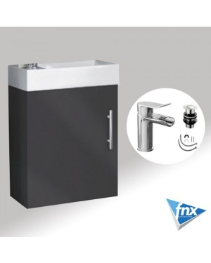 Bathroom Cloakroom Vanity Unit Including Basin Wall Hung 400mm Anthracite Grey With Tap