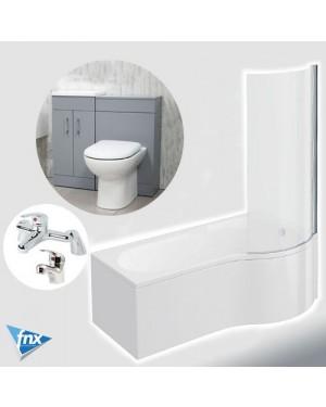 Lomond P Shape Right Hand Bathroom Suite in Matt Grey Vanity Unit BTW Pan Tap Set