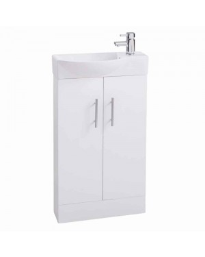 White Modern Slimline 500mm Bathroom Cloakroom Vanity Sink Basin Unit Cabinet