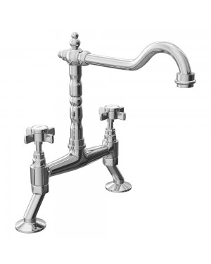 Cassellie Cranked Classic Style Traditional Bridge Sink Mixer Tap - Crosshead Handles - Chrome
