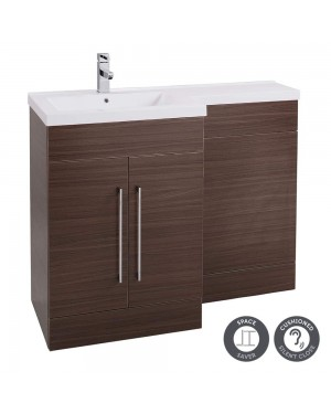 Walnut Left Hand Basin 1100mm L Shaped Bathroom Vanity Unit Sink Cabinet