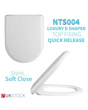 Luxurious D Shaped Soft Close Back to Wall /Close Coupled Toilet Top Fixing Seat