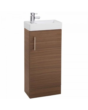 Modern Walnut Cloakroom Bathroom 400mm Vanity Unit & Basin Sink Floor Standing