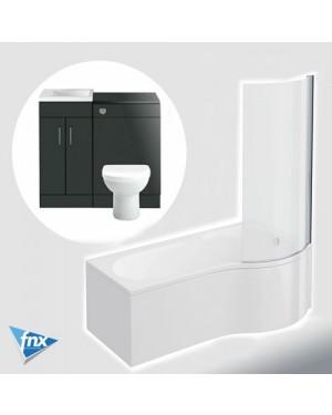 Lomond P Shape Right Hand Bathroom Suite in Anthracite Vanity Unit BTW Pan