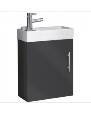Bathroom Cloakroom Vanity Unit Including Basin Wall Hung 400mm Anthracite Grey