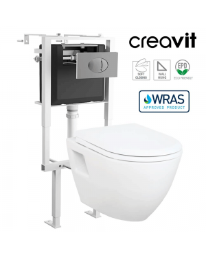 Creavit Short Projection Wall Hung Toilet Pan & Concealed Cistern Frame