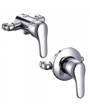 Modern Chrome Wall Mounted Manual Shower Mixer Valve Bathroom Tap
