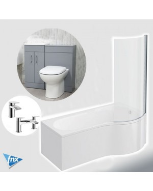 P Shape Right Hand Bathroom Suite Matt Grey Vanity Unit BTW Pan Square Tap Set