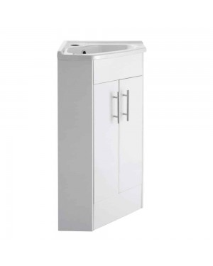 Gloss White Two Door Corner Vanity Unit