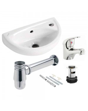 Telescopic Bottle Trap & Compact Wall Basin With Basin Tap & Waste