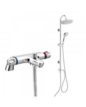 Thermostatic Bath Shower Mixer Tap With Round 3 Way Shower Kit