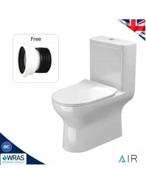 Rimless AIR Close Coupled Toilet & Soft Close Seat WC Pan & Cistern