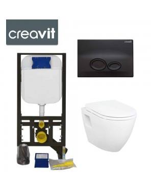 Concealed Wall Hung Toilet Adjustable Cistern Frame & Flush Plate Drop MATT Black