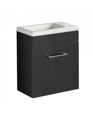 Anthracite Square Basin Wall Hung Cloakroom Furniture Vanity Unit Compact 400