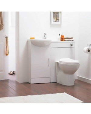 Slimline Gloss White Sienna Cloakroom Vanity Unit Back To Wall Bathroom Pack