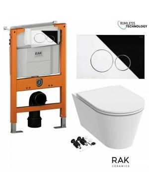 RAK Resort Rimless Wall Hung Toilet Pan Low Profile Cistern & Chrome Flush Button