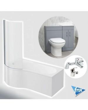 Lomond P Shape Left Hand Bathroom Suite in Matt Grey Vanity Unit BTW Pan Tap Set