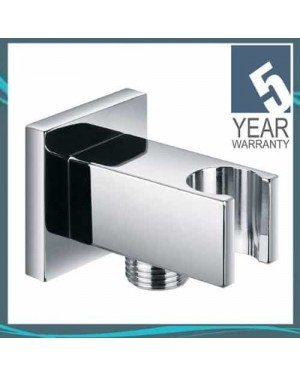 Pura Chrome Square Shower Valve Connector Hose Wall Outlet with Bracket ACC6042