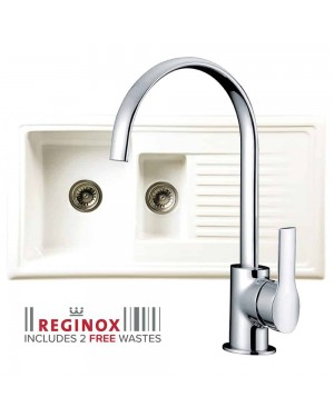 Reginox Kitchen Sink Ceramic Reversible Inset 1.5 Bowl & LISSINI Tap