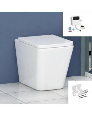 ALMALFI Toilet Pan Square Back to Wall Including Seat - Concealed Cistern & Fixings