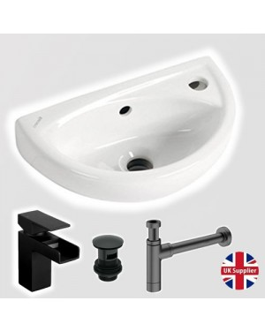 Small Compact Cloakroom Basin Wall Hung Incl Black Tap & Waste & Trap
