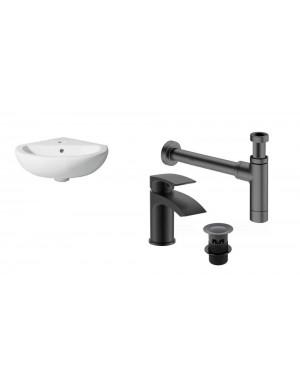 Compact Corner Basin/Sink Basin Mono Mixer Clicker Waste & Bottle Trap BLACK