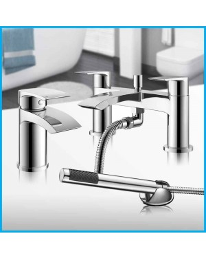 New Modern Chrome Waterfall Bath Filler Shower Basin Mixer Tap Bathroom Set