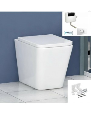 AMALFI Toilet Pan Square BTW Including Seat - Concealed Cistern & Large Button