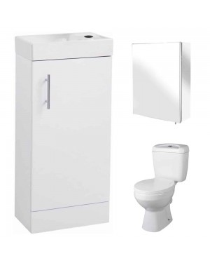 400mm Vanity unit Close Coupled toilet Pan & Mirror Cabinet Bathroom Set