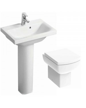 Comfort Height Rimless technology BTW Toilet Pan Basin & Pedestal Set