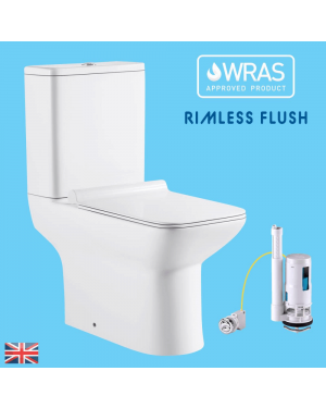Square Rimless Close Coupled Toilet & Soft Close Seat