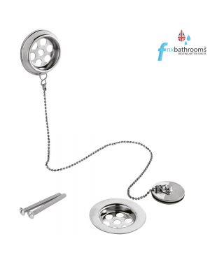 Stainless Steel Retainer Bath Waste with Overflow Ball Chain & Plug