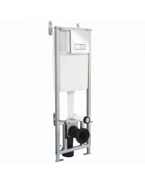 Wall Hung Toilet Concealed Cistern Frame and Large Button Chrome