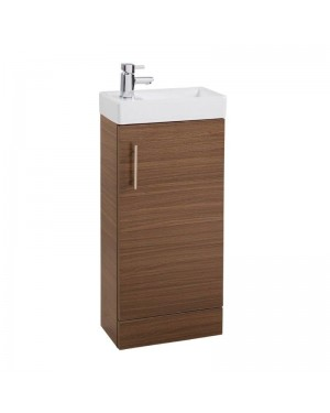 Floor Standing Vanity Unit & Basin Sink Bathroom Cloakrooom Compact 400 Walnut